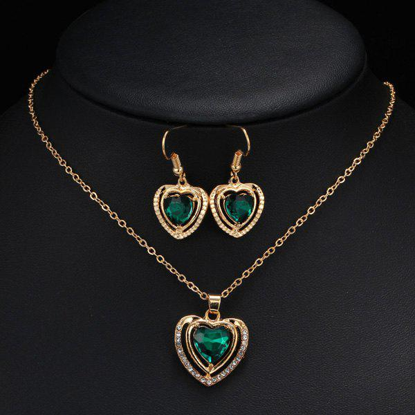Fake Amethyst Hollowed Heart Wedding Jewelry Set rhinestoned hollowed wedding jewelry set