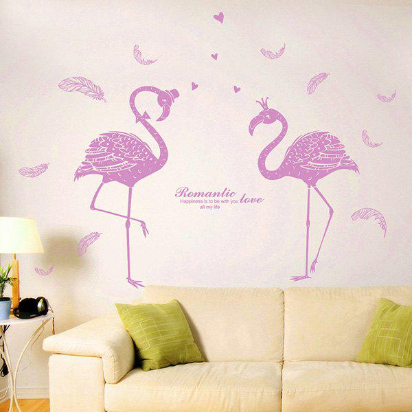 Love Bird Famingos PVC Removable 1 Pcs Art Wall Stickers - PINKBEIGE