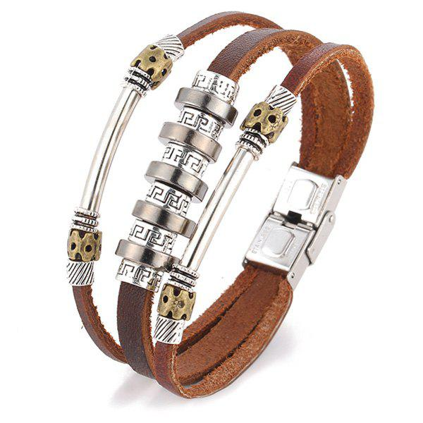 Punk Style Faux Leather Fret Pattern Bracelet - LIGHT BROWN