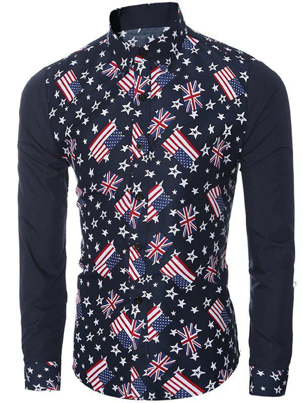 Flags Print Turn-Down Collar Long Sleeves Shirt For Men - CADETBLUE 2XL