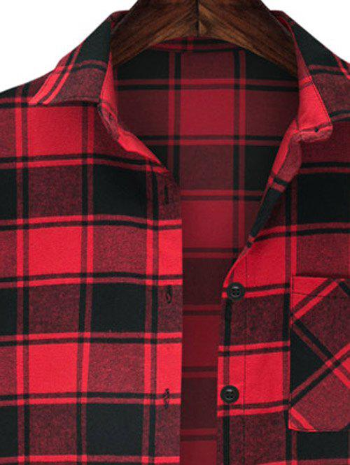 Stylish High Low Hemming Sleeve Checkered Shirt For Women - RED 5XL