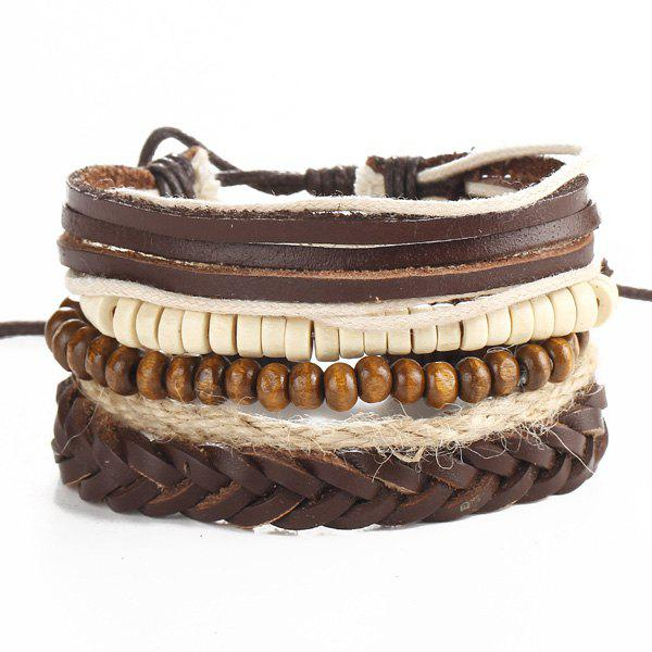 Beaded Faux Leather Layered Bracelets - BROWN