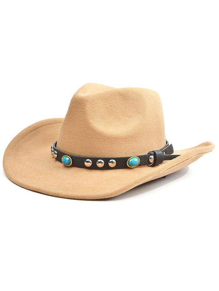 Western Style Faux Gem Rivet Belt Faux Suede Women's Cowboy Hat - LIGHT KHAKI
