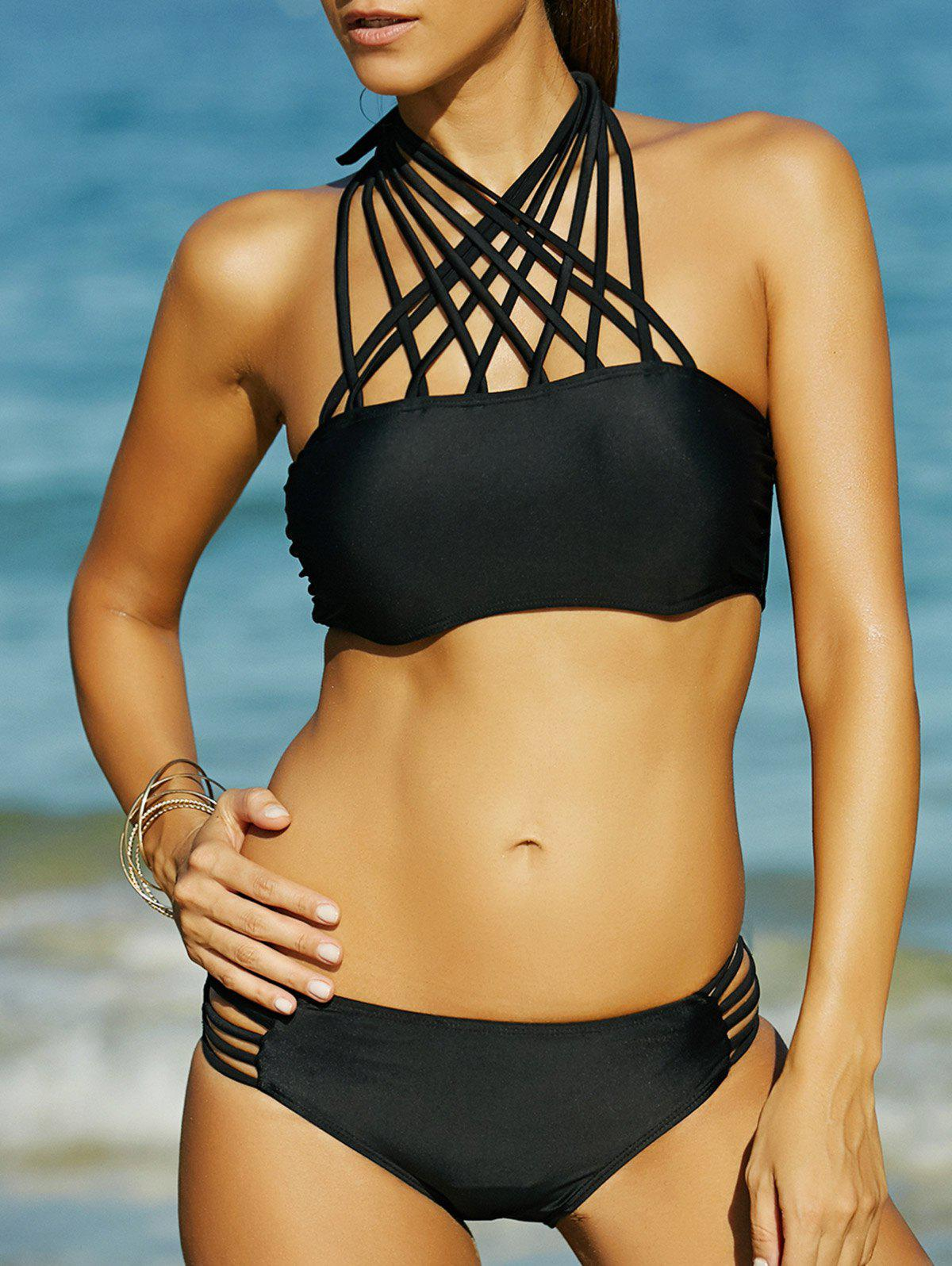Alluring Strappy Black Hollow Out Women's Bikini Set - XL BLACK