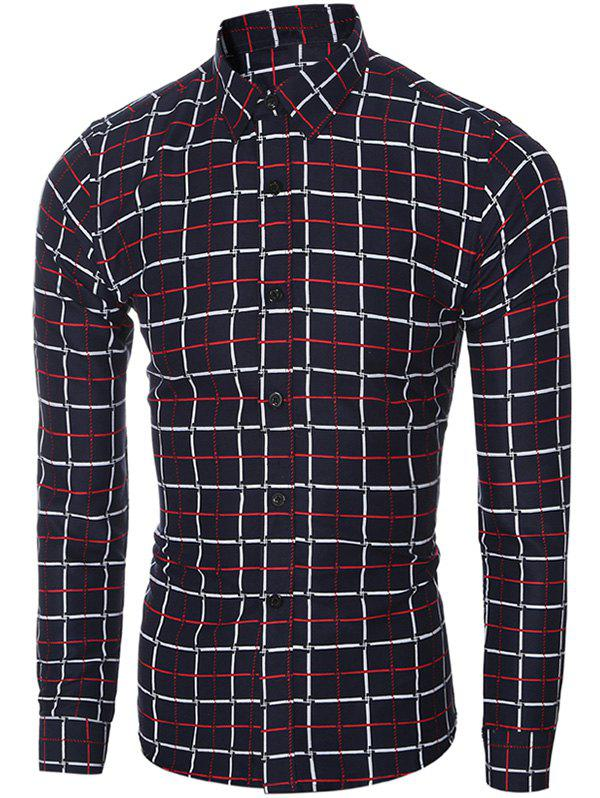 Slim-Fit Turn-Down Collar Long Sleeve Checked Shirt For Men