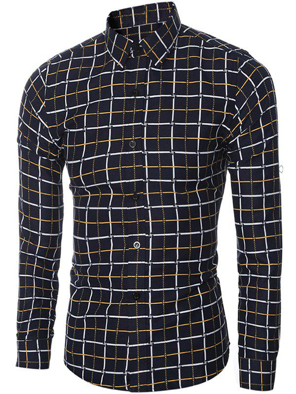 Slim-Fit Turn-Down Collar Long Sleeve Checked Shirt For MenMen<br><br><br>Size: 2XL<br>Color: YELLOW