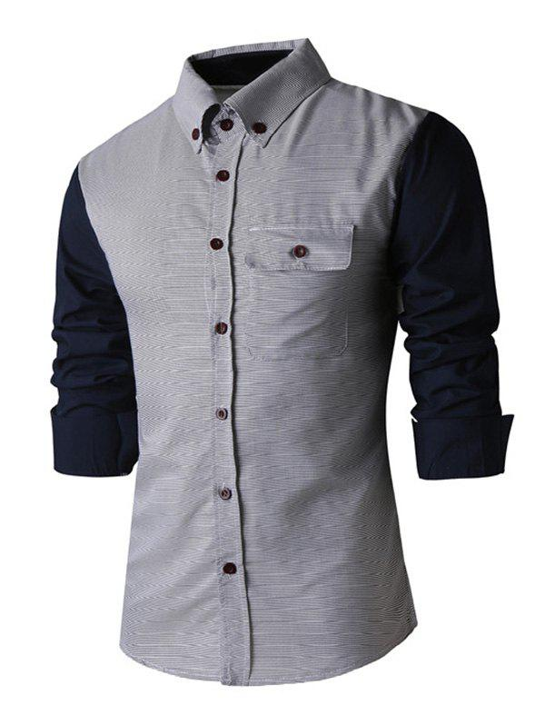 Classic Spliced Turn-Down Collar Long Sleeves Shirt For Men - GRAY 2XL