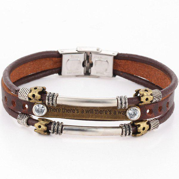 Rhinestone Faux Leather Engraved Bracelet - BROWN