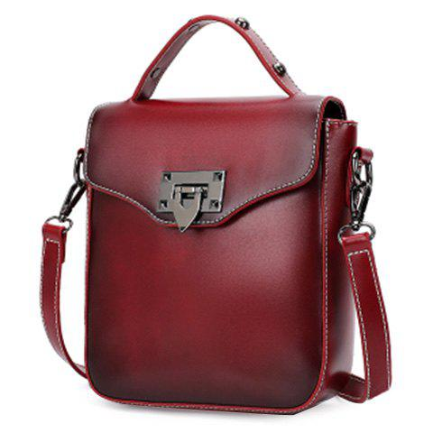 Stylish Metal and PU Leather Design Women's Shoulder Bag - WINE RED