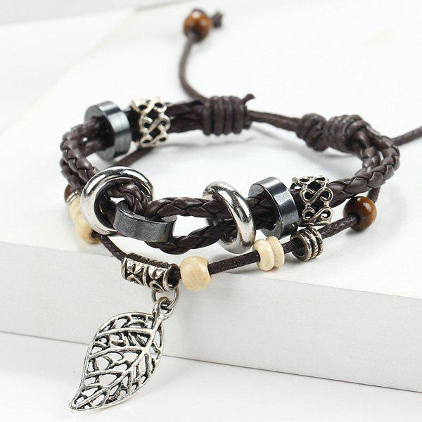 Filigree Leaf Layered Braided Bracelet - COFFEE