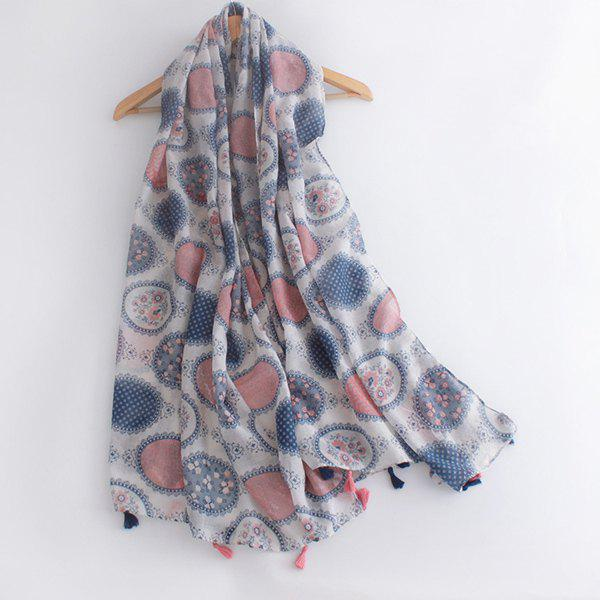 Stylish Round Photo Frame Flower Pattern Tassel Women's Voile Scarf