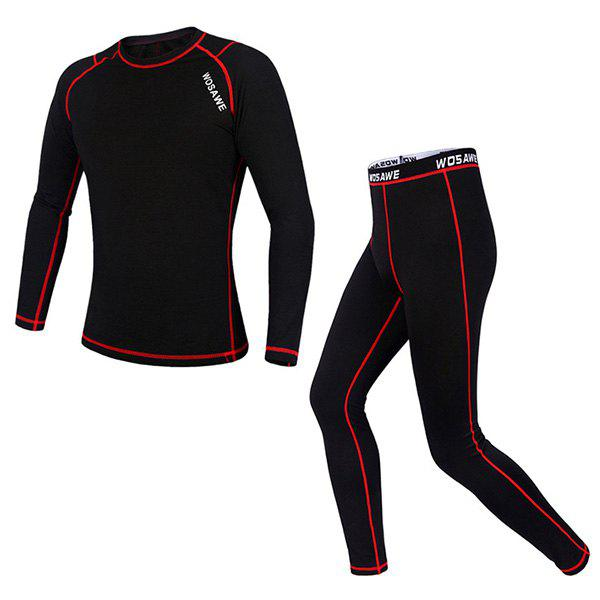 Chic Quality Warmth Thermal Fleece Base Layer Cycling Jersey+ Pants For Unisex - RED/BLACK L