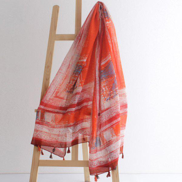 Stylish Bohemian Printed Outdoor Travel Women's Voile Scarf - JACINTH