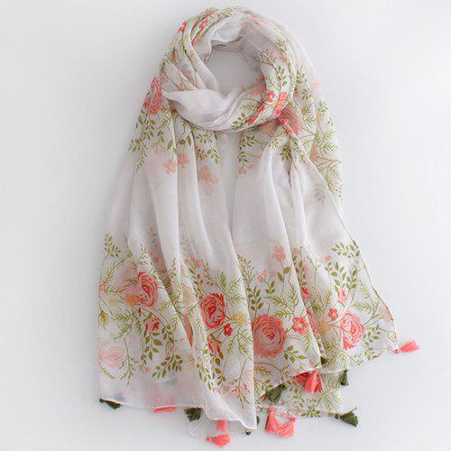 Fresh Sweet Rose and Leaf Pattern Tassel Pendant Women's Voile Scarf - WHITE
