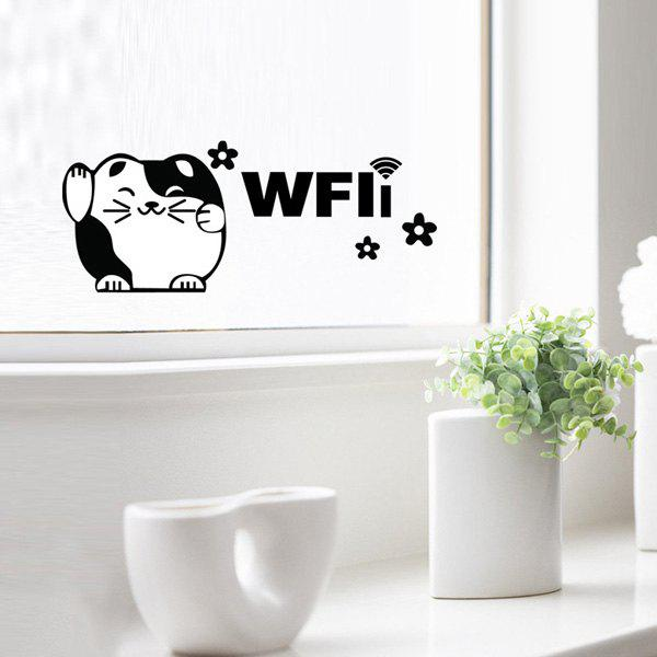 Cute Glass Pastes Plutus Cat WiFi Removable Wall Stickers - BLACK