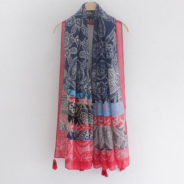Casual Style Tribal Doodle Pattern Tassel Pendant Women's Voile Scarf - RED
