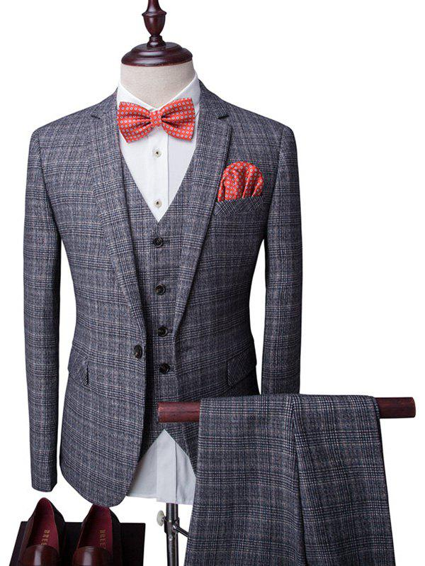 Plaid Single Button Lapel Long Sleeve Men's Three-Piece Suit ( Blazer + Waistcoat + Pants ) - GRAY 2XL