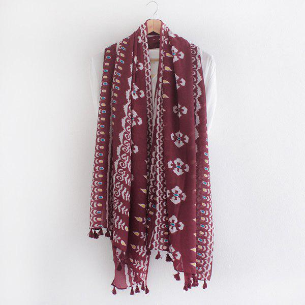 Ethnic Style Arab Printed Tassel Pendant Women's Voile Scarf тинт для губ touch in sol chroma powder lip tint 1 цвет 1 morticia variant hex name e40068