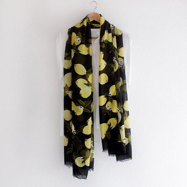 Fresh Style Lemon Printed Fringed Women's Voile Scarf - BLACK
