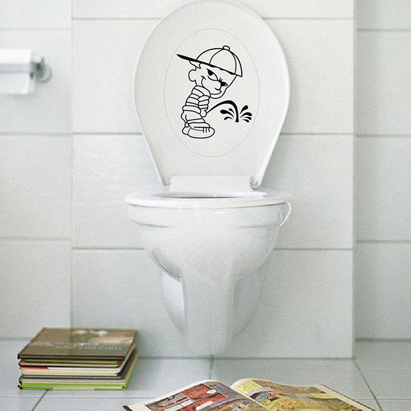 Removable Cute Cartoon Pee Bad Boy Bathroom Wall Stickers - BLACK
