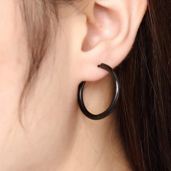Pair of Rock Style Black Polished Surface Hoop Earrings For Women