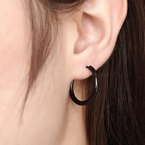 Pair of Fashion Black Polished Circle Hoop Earrings For Women