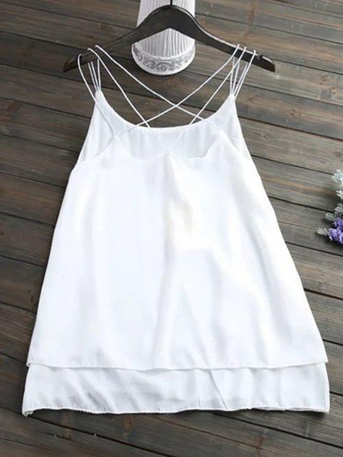 Plus Size Chic Criss Cross Chiffon Tank Top - WHITE 2XL