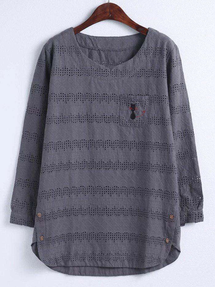 Oversized Sweet Kitten Embroidery Hollow Out BlouseWomen<br><br><br>Size: 4XL<br>Color: BLACK GREY