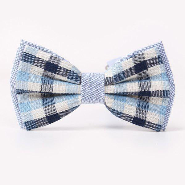 Stylish Tartan Pattern Banquet Wedding Party Double-Deck Bow Tie - CADETBLUE