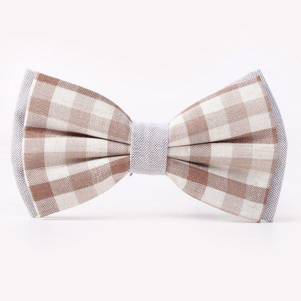 Stylish Tartan Pattern Banquet Wedding Party Double-Deck Bow Tie - LIGHT COFFEE