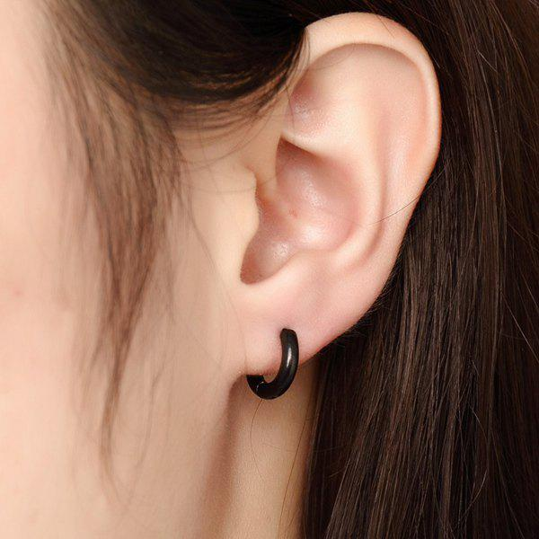 Pair of Fashion Black Alloy Micro Hoop Earrings For Women
