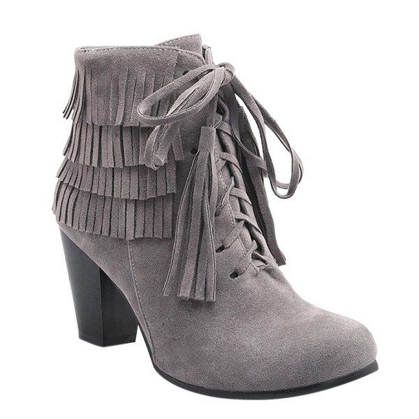 Stylish Tie Up and Tassels Design Women's Ankle Boots - GRAY 39