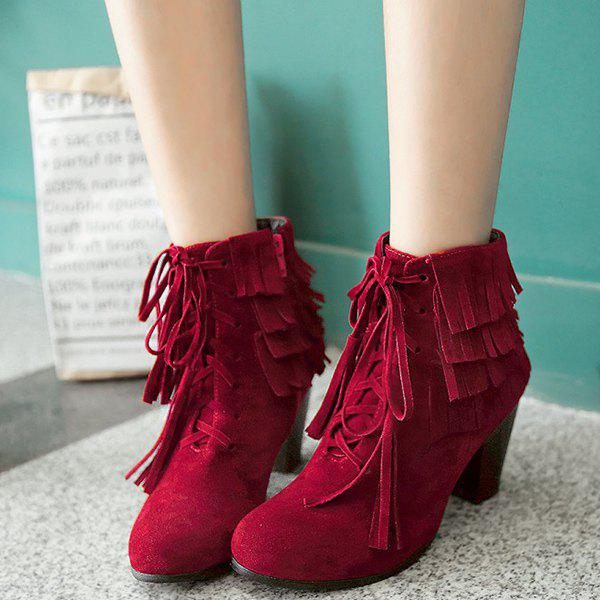 Stylish Tie Up and Tassels Design Women's Ankle Boots - DEEP RED 38