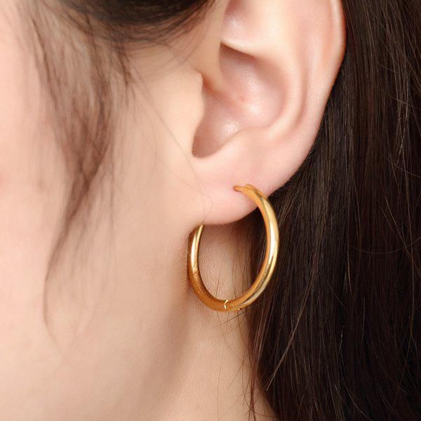 Pair of Gold Plated Polished Big Hoop Earrings - GOLDEN