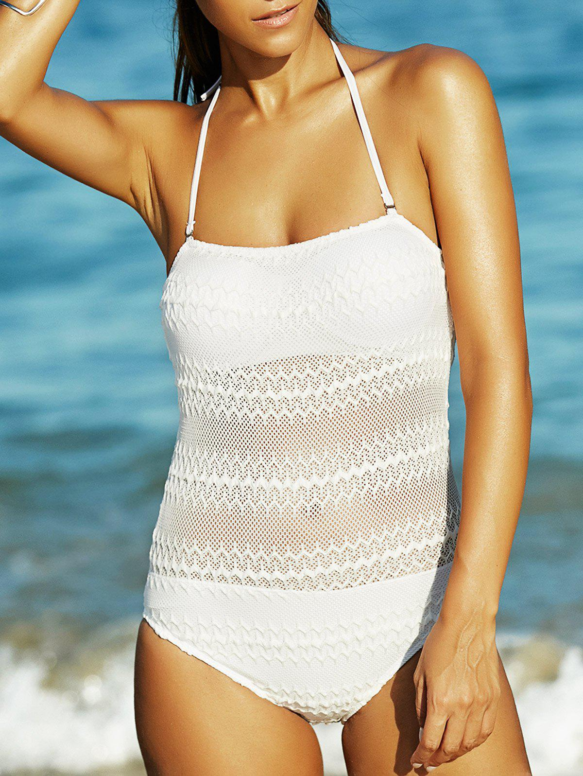 Charming Halter Hollow Out Backless Women's Swimwear - WHITE XL