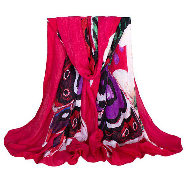 Modern Art Style Butterfly Oil Painting Women's Voile Scarf - RED