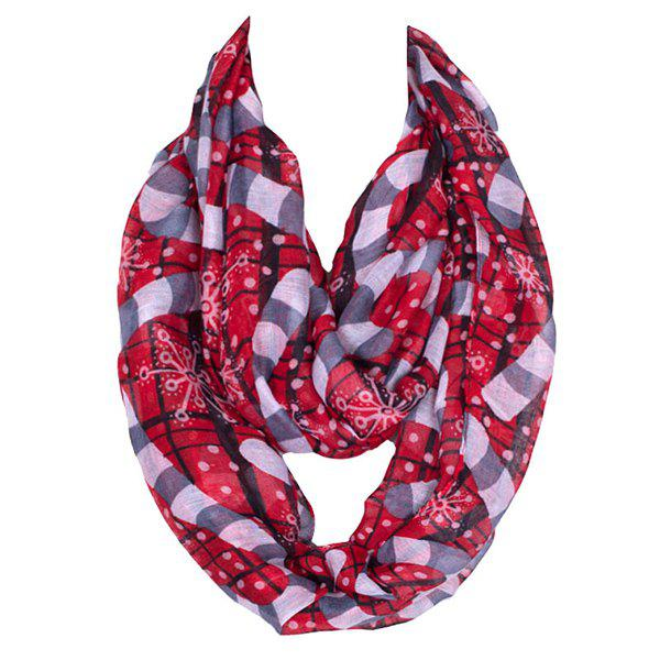 Winter Style Christmas Snowflake Walking Stick Pattern Women's Voile Scarf - RED