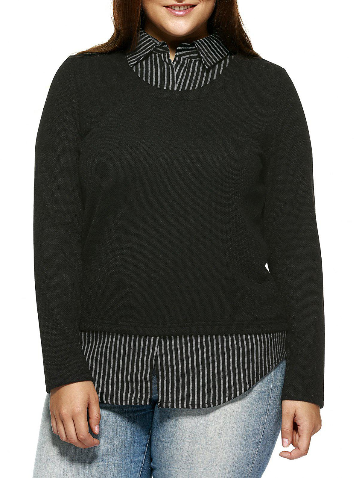 Plus Size Vintage Faux Twinset Stripe Top - BLACK 4XL