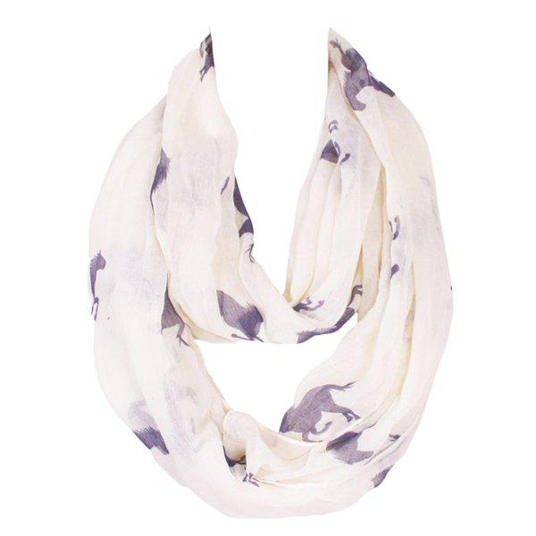 Casual Style Running Horse Pattern Women's Voile Bib Scarf - OFF WHITE