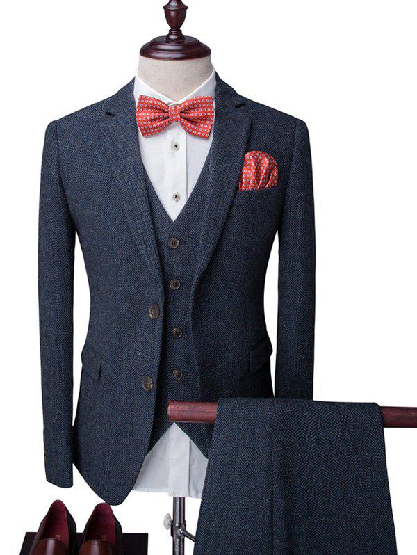 Chevron Tweed Single Breasted Long Sleeve Lapel Men's Three-Piece Suit ( Blazer + Waistcoat + Pants ) - CADETBLUE 2XL