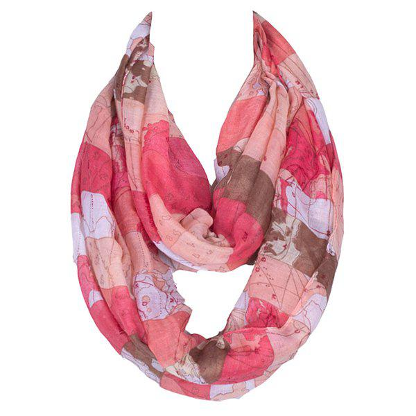 Casual Style World Map Pattern Women's Voile Scarf - DEEP PINK
