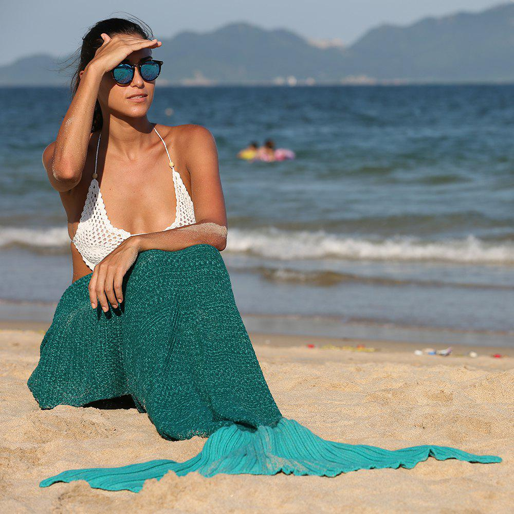 Fashionable Ombre Color Knitting Mermaid Shape Blanket - GREEN
