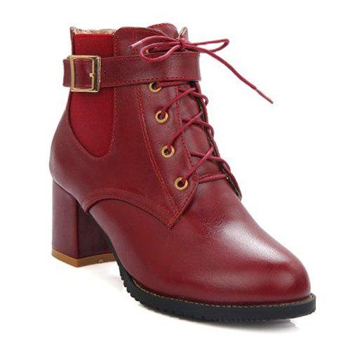 Stylish Buckle and Elastic Band Design Women's Ankle Boots - WINE RED 39