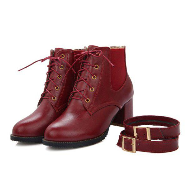 Stylish Buckle and Elastic Band Design Women's Ankle Boots - WINE RED 37