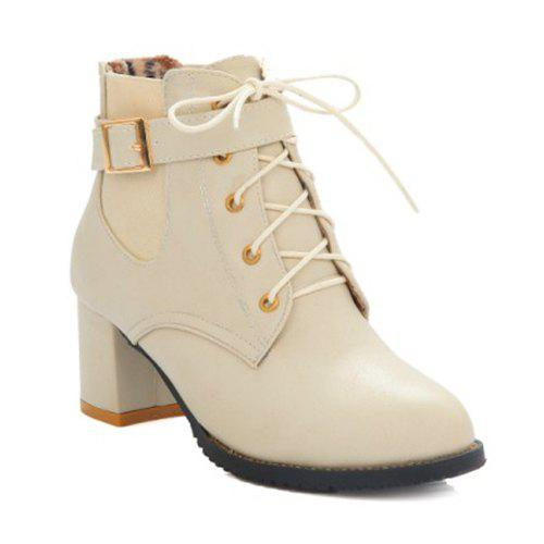 Stylish Buckle and Elastic Band Design Women's Ankle Boots - OFF WHITE 38
