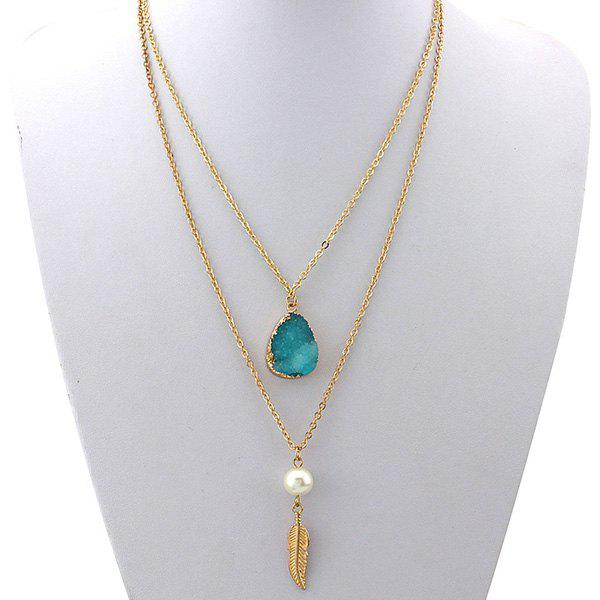 Chic Double Layered Faux Crystal Teardrop Feather Pendant Necklace For Women
