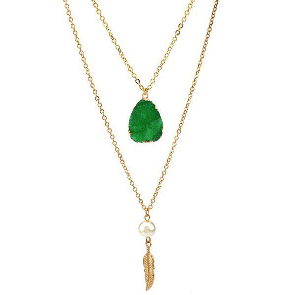 Double Layered Faux Crystal Teardrop Feather Pendant Necklace faux pearl teardrop layered necklace