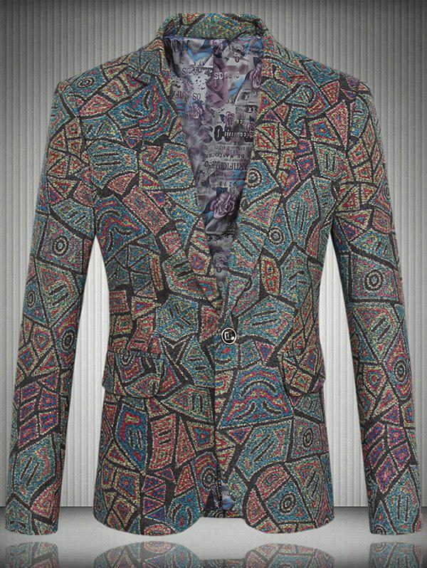 Pattern Tweed One-Button Lapel Men's Long Sleeve Blazer - COLORMIX 4XL