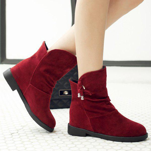 Fashionable Solid Color and Increased Internal Design Women's Short Boots - DEEP RED 37
