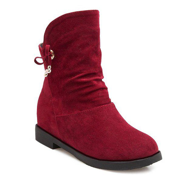 Fashionable Solid Color and Increased Internal Design Women's Short Boots - DEEP RED 38
